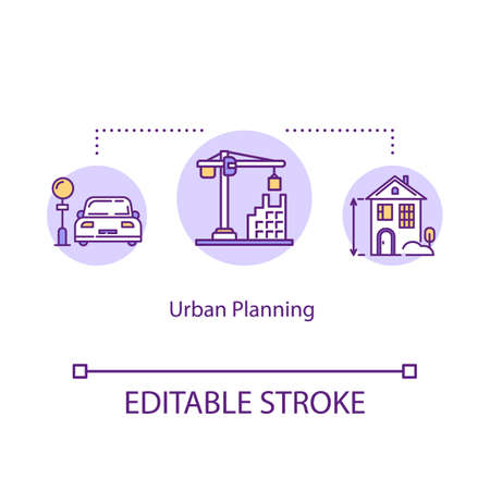Urban planning concept icon. City development and construction industry idea thin line illustration. Town infrastructure, building facilities. Vector isolated outline RGB color drawing Editable stroke Ilustrace