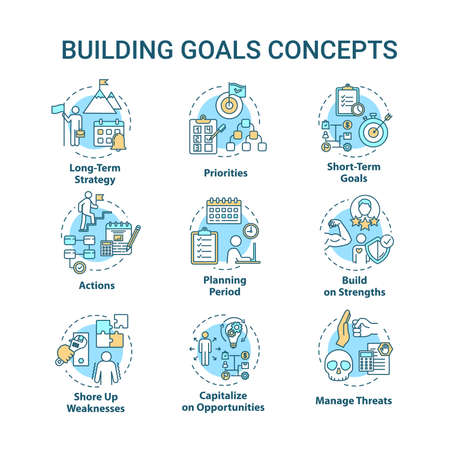 Building goals concept icons set. Setting target to achieve. Improving performance. Self-development idea thin line RGB color illustrations. Vector isolated outline drawings. Editable stroke