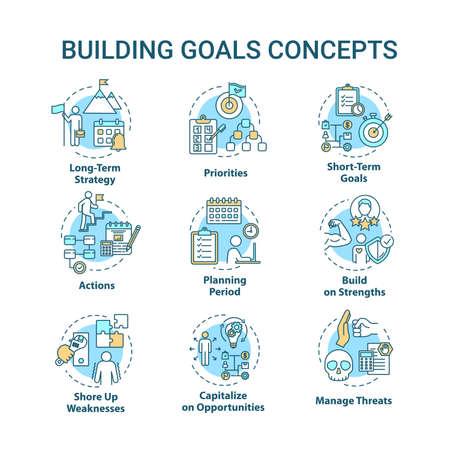 Conjunto de iconos de concepto de objetivos de construcción. Fijación de objetivos a alcanzar. Mejorando el desempeño. Idea de autodesarrollo ilustraciones en color RGB de línea fina. Dibujos de contorno aislados vectoriales. Trazo editable