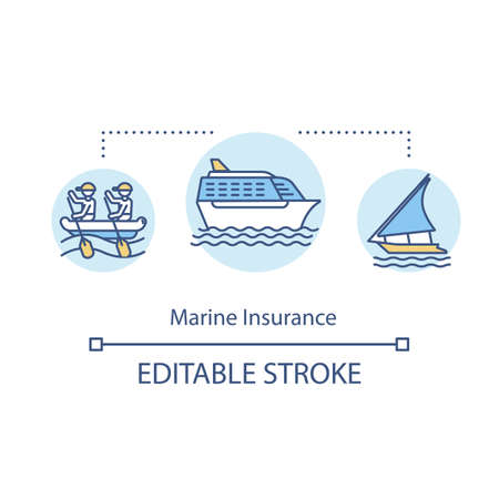 Marine insurance concept icon. Cargo, boat. Secure shipment services. Industrial safety. Freight terminal idea thin line illustration. Vector isolated outline RGB color drawing. Editable stroke Vektorové ilustrace