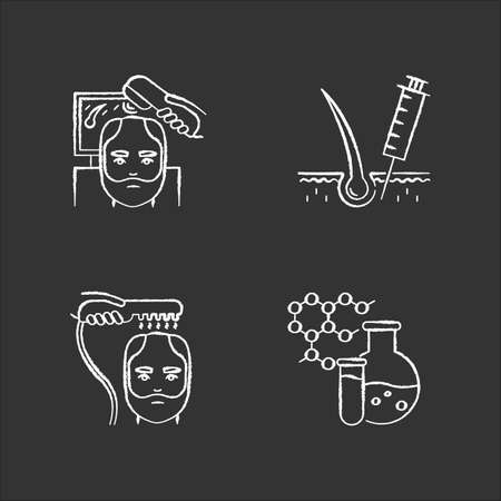 Hair loss chalk white icons set on black background. Laser therapy for men's thinning hair. Medical injection for alopecia. Chemistry, medicine. Dermatology. Isolated vector chalkboard illustrations