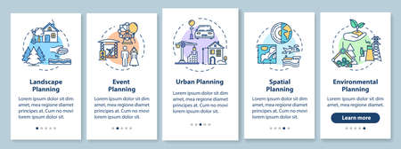 Landscape architecture onboarding mobile app page screen with concepts. Environmental planning walkthrough 5 steps graphic instructions. UI vector template with RGB color illustrations