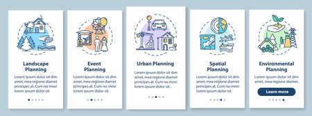Landschapsarchitectuur onboarding mobiele app paginascherm met concepten. Milieuplanning walkthrough 5 stappen grafische instructies. UI-vectorsjabloon met RGB-kleurenillustraties