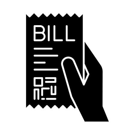 Bill of exchange black glyph icon. Printed cheque. Payment notice. Purchase confirmation, proof. Cashiers receipt, cash-memo. Shopping. Silhouette symbol on white space. Vector isolated illustration Vectores