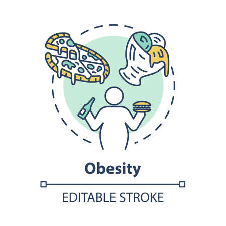 Obesity concept icon. Unhealthy eating habits. Overweight person. Calories from fast food. Overconsumption idea thin line illustration. Vector isolated outline RGB color drawing. Editable stroke Çizim