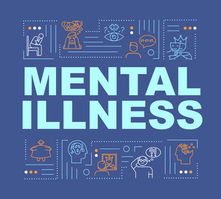 Mental illness word concepts banner. Personality disorders. Depression, insanity. Infographics with linear icons on dark blue background. Isolated typography. Vector outline RGB color illustration