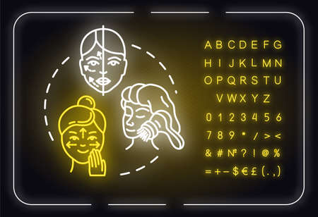 Facebuilding, face massage neon light concept icon. Cosmetology, anti-aging procedure idea. Outer glowing sign with alphabet, numbers and symbols. Vector isolated RGB color illustration Ilustração
