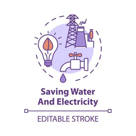Icône de concept d'économie d'eau et d'électricité. Consommation responsable des ressources. Utilisation efficace. Illustration de fine ligne d'idée d'écologie. Dessin de couleur RVB de contour isolé de vecteur. Trait modifiable