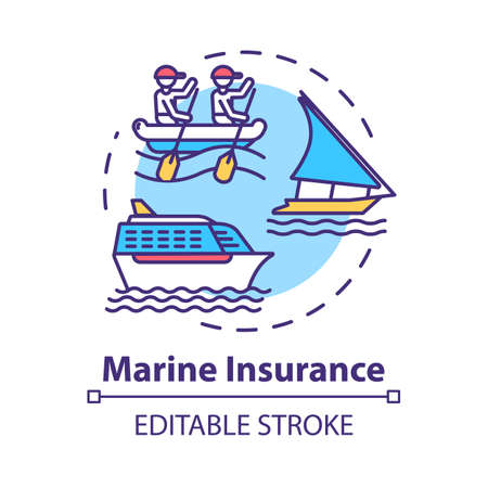 Marine insurance concept icon. Nautical vehicle protection. Ship protection. Logistic business. Cargo safety idea thin line illustration. Vector isolated outline RGB color drawing. Editable stroke Vektorové ilustrace