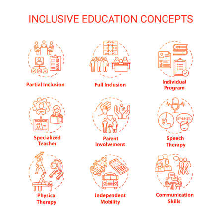 Inclusive education concept icons set. Individual program. Partial and full inclusion. Special school idea thin line RGB color illustrations. Vector isolated outline drawings. Editable stroke