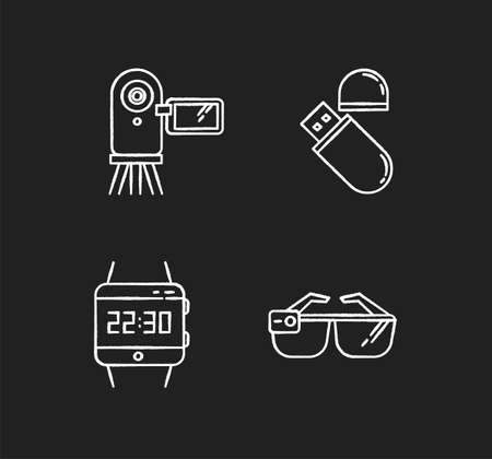 Mobile devices chalk white icons set on black background. Electronic gadgets. Flash drive, video camera. Smartwatch, smartglasses. Compact digital tools. Isolated vector chalkboard illustrations