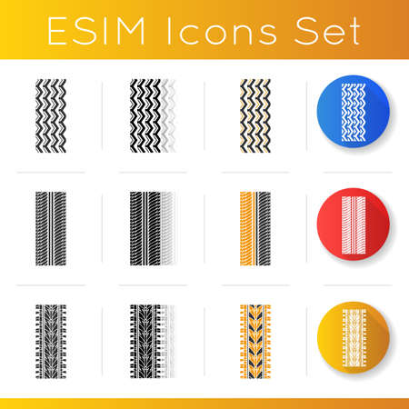 Track prints icons set. Detailed automobile, motorcycle, bike tyre marks. Car summer and winter wheel trace. Vehicle tire trail. Linear, black and RGB color styles. Isolated vector illustrations