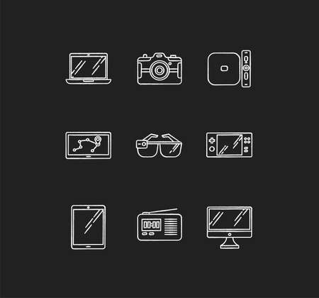 Mobile devices chalk white icons set on black background. Electronic gadgets. Technology. Tablet, laptop, computer. Navigator, radio set. Compact digital tool. Isolated vector chalkboard illustrations