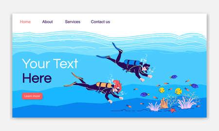 Modèle vectoriel de page de destination de plongée sous-marine. Couple nageant sous l'eau. Idée d'interface de site Web de tourisme indonésien avec des illustrations plates. Mise en page de la page d'accueil. Bannière Web, concept de dessin animé de page Web