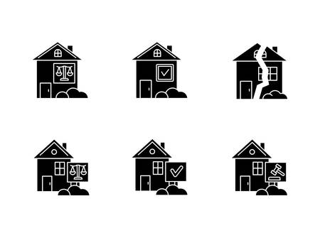Real estate matters black glyph icons set on white space. Tenancy dispute. Property litigation. Realty trial. Lease agreement. Conflict resolution. Silhouette symbols. Vector isolated illustration
