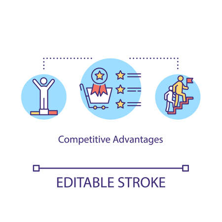 Competitive advantages concept icon. Competitors rivalry idea thin line illustration. Loyalty programs and customers services providing. Vector isolated outline RGB color drawing. Editable stroke Vektorové ilustrace