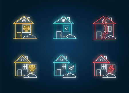 Real estate matters neon light icons set. Tenancy legal dispute. Property litigation. Realty trial. Lease agreement. Signs with outer glowing effect. Vector isolated RGB color illustrations