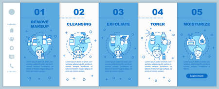 Skincare onboarding vector template. Remove makeup. Cleansing, exfoliating. Toner and moisturizer. Responsive mobile website with icons. Webpage walkthrough step screens. RGB color concept Иллюстрация