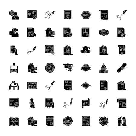 Notary services black glyph icons set on white space. Apostille and legalization. Certificate. Courthouse. Real estate litigation. License. Signature. Silhouette symbols. Vector isolated illustration