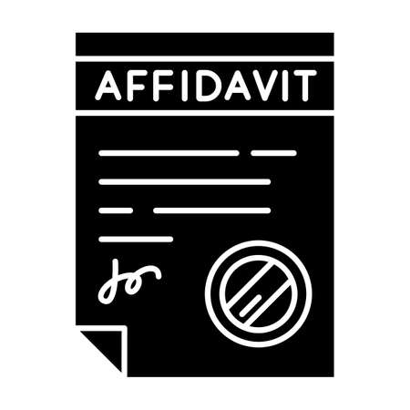 Confirmed affidavit black glyph icon. Signed notarized document. Apostille and legalization. Declaration. Legal paper. Notary services. Silhouette symbol on white space. Vector isolated illustration