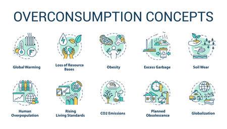 Überverbrauchskonzeptikonen eingestellt. Die globale Erwärmung. Ökologische und Umweltschäden. Konsumidee dünne Linie RGB-Farbillustrationen. Vektor isolierte Umrisszeichnungen. Bearbeitbarer Strich