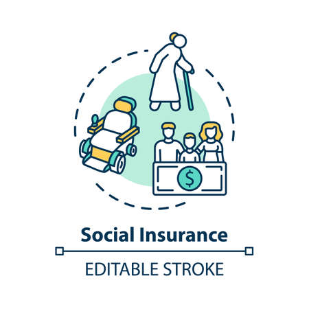 Social insurance concept icon. Life assurance. Policy for healthcare. Secure retirement. Pension plan idea thin line illustration. Vector isolated outline RGB color drawing. Editable stroke