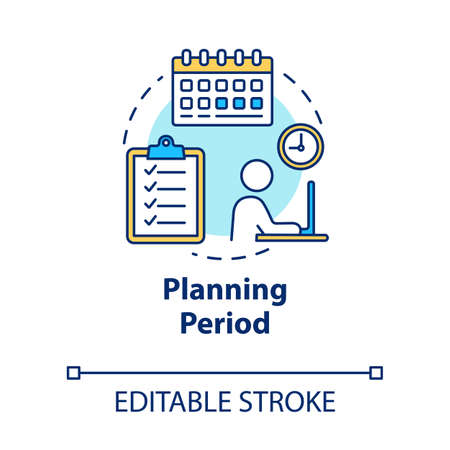 Planning period concept icon. Self-building businessman. Checklist for project. Scheduling work idea thin line illustration. Vector isolated outline RGB color drawing. Editable stroke Vector Illustration