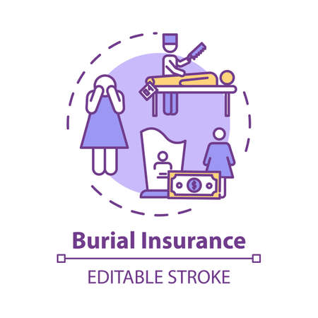 Burial insurance concept icon. Family member loss. Financial help with arrangement. Funeral expense idea thin line illustration. Vector isolated outline RGB color drawing. Editable stroke