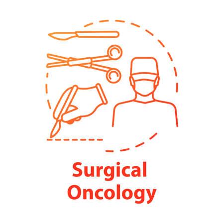 Icône de concept d'oncologie chirurgicale. Chirurgie pour enlever la tumeur. Procédure de traitement. Illustration de ligne mince d'idée de salle d'opération. Dessin de couleur RVB de contour isolé de vecteur Vecteurs