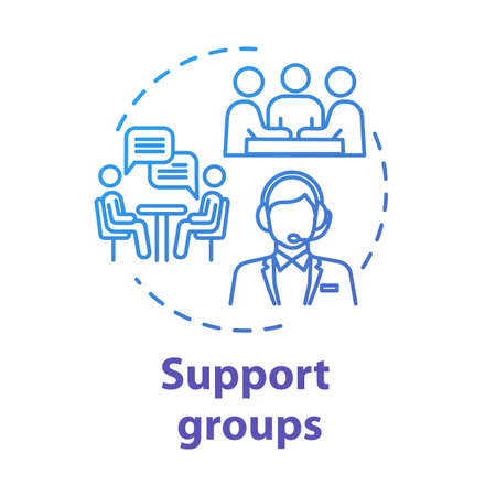 Support groups concept icon. Mutual help team. Psychological assistance organization. Therapeutic assistance idea thin line illustration. Vector isolated outline RGB color drawing