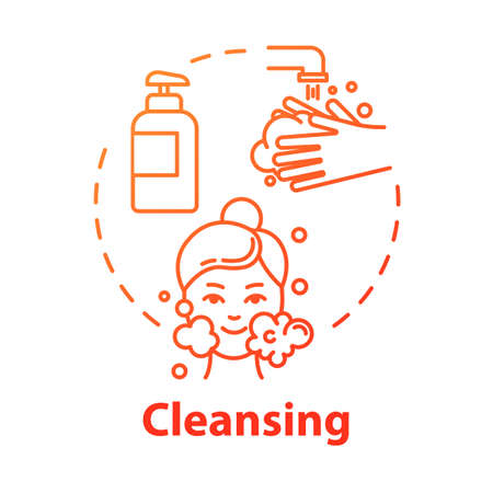Cleansing, face and hands washing, skin purification concept icon. Cleanser and soap use, hygiene idea thin line illustration. Vector isolated outline RGB color drawing. Editable stroke