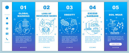 Overconsumption onboarding vector template. Global warming, soil wear. Consumerism and consumption. Responsive mobile website with icons. Webpage walkthrough step screens. RGB color concept