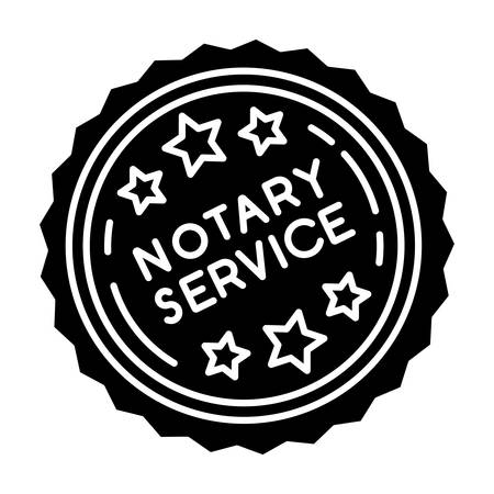 Notary services stamp mark black glyph icon. Apostille and legalization. Notarization. Notarized document. Validation, confirmation. Silhouette symbol on white space. Vector isolated illustration