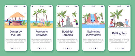 Indonesia tourism onboarding mobile app screen vector template. Tropical country. Sightseeing. Walkthrough website steps with flat characters. UX, UI, GUI smartphone cartoon interface concept