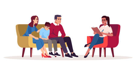 Family therapy session semi flat RGB color vector illustration. Parenting difficulties. Appointment with psychologists. Psychotherapy. Psychology consultation. Isolated cartoon character on white Vectores