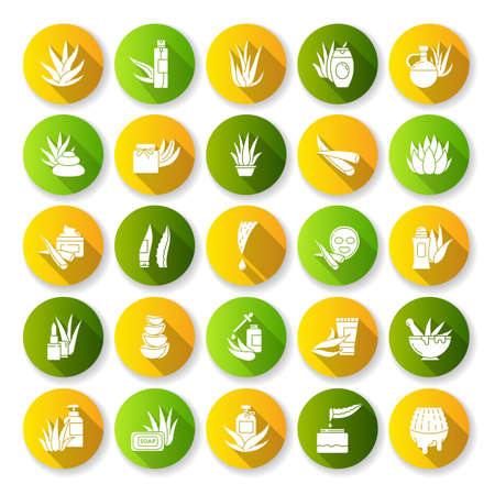 Aloe vera flat design long shadow glyph icons set. Natural cosmetic and dermatology. Medicinal herbs. Succulent, cactus. Moisturizing cream and facial mask. Silhouette RGB color illustration Vector Illustration