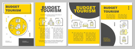 Budget travel brochure template. Cheap tours. Inexpensive voyage. Flyer, booklet, leaflet print, cover design with linear icons. Vector layouts for magazines, annual reports, advertising posters Ilustracja