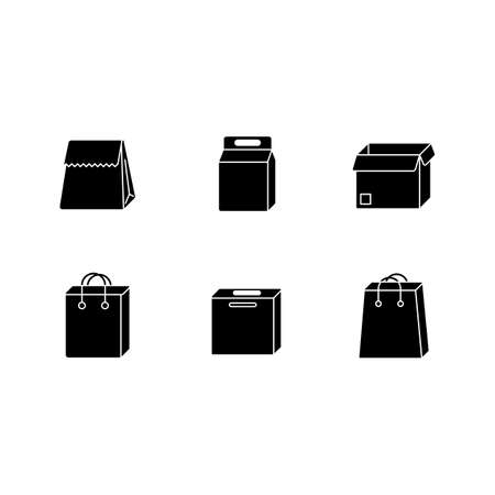 Paper food packages black glyph icons set on white space. Cardboard boxes, bags for products, meal. Disposable containers for lunch, grocery. Silhouette symbols. Vector isolated illustration Vettoriali