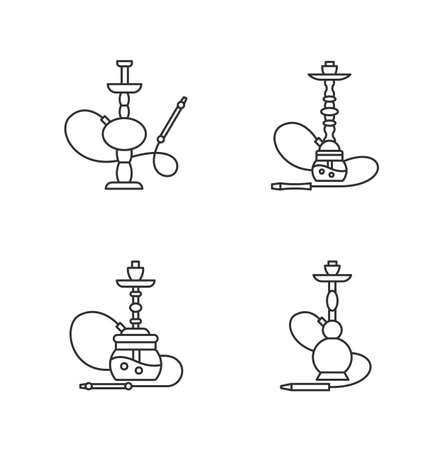 Hookah pixel perfect linear icons set. Hooka bar for peaceful leisure. Sheesha house. Customizable thin line contour symbols. Isolated vector outline illustrations. Editable stroke