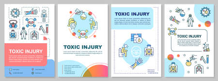 Toxic injury, poisoning and radiation consequences brochure template. Flyer, booklet, leaflet print, cover design with linear icons. Vector layouts for magazines, annual reports, advertising posters Ilustracja
