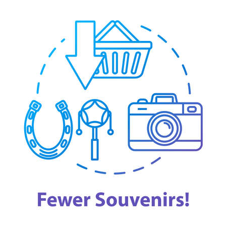 Fewer souvenirs concept icon. Money saving travel, budget tourism idea thin line illustration. Abstention from purchases and overspending. Vector isolated outline RGB color drawing