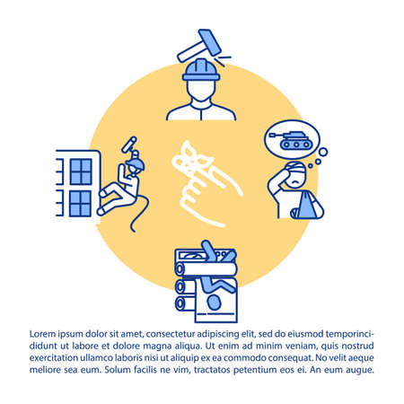 Industrial injuries concept icon with text. Construction site incidents, safety rules non-observance PPT page vector template. Brochure, magazine, booklet design element with linear illustrations