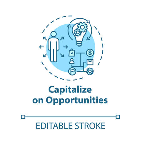 Capitalize on opportunities concept icon. Set strategy. Efficient performance. SWOT planning idea thin line illustration. Vector isolated outline RGB color drawing. Editable stroke
