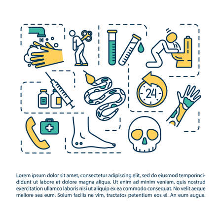 Snakebite first aid concept icon with text. Reptile bite symptoms and treatment, injury therapy PPT page vector template. Brochure, magazine, booklet design element with linear illustrations Ilustracja