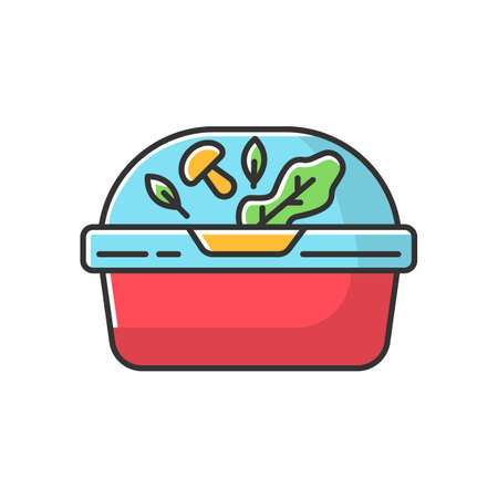 Plastic container for salad RGB color icon. Reusable lunchbox. Takeaway food package with lid. Takeout meal in lunch box. Take away dinner Isolated vector illustration Stock Illustratie
