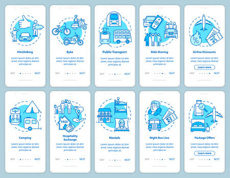 Sleeping and transportation onboarding mobile app page screen with concepts. Cheap accommodations. Budget trip walkthrough steps graphic instructions. UI vector template with RGB color illustrations