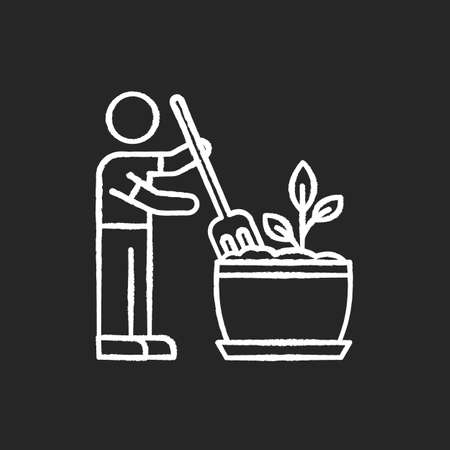 Soil fluffing chalk white icon on black background. Plowing, ploughing earth. Houseplant care. Aeration. Plant growing, planting process. Indoor gardening. Isolated vector chalkboard illustration