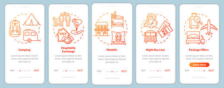 Passing night onboarding mobile app page screen with concepts. Sleep in bus. Budget hotel. Cheap tourism walkthrough five steps graphic instructions. UI vector template with RGB color illustrations