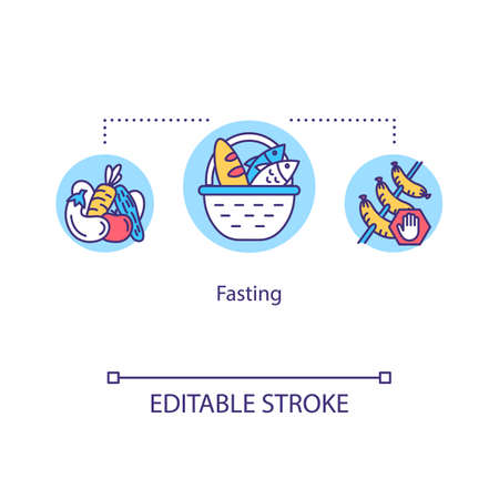 Fasting concept icon. Hunger therapy idea thin line illustration. Willing abstinence, reduction of food. Balanced diet. Vector isolated outline RGB color drawing. Editable stroke