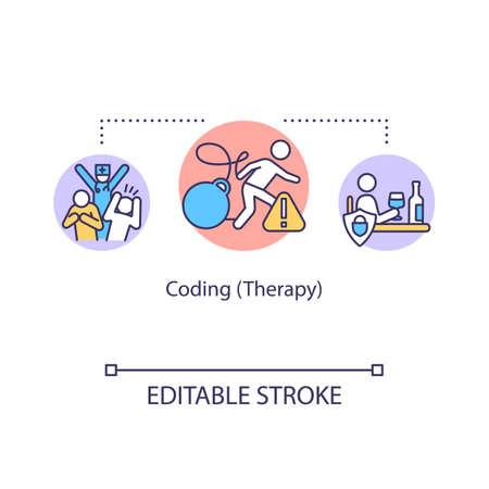 Coding therapy concept icon. Addiction treatment idea thin line illustration. Fake procedure. Convincing technique. Vector isolated outline RGB color drawing. Editable stroke Ilustración de vector